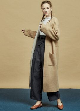 [URAGO]muffler long knit coat