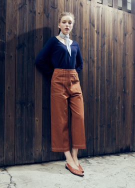 [URAGO]line stitch wide pants