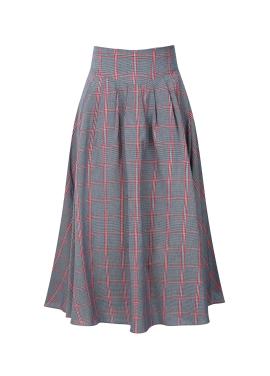 ★ Check Flare Long Skirt