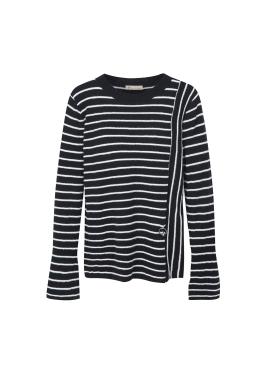Stripe Peplum Sleeve Pullover