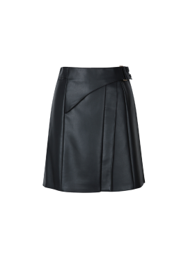Strap Leather Skirt