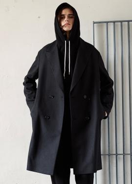 [SAINTLESS] OVERSIZE DOUBLE COAT_BLACK