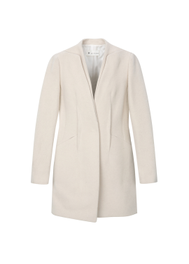 Wool Blend Collarless <br>Slim Jacket