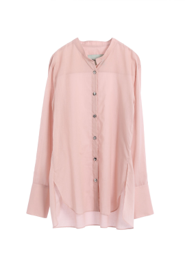 [THEROOM]SHEER COTTON SHIRT [PINK /NAVY]