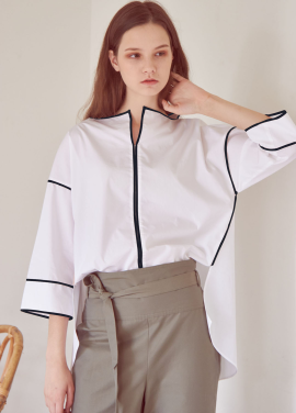 [THEROOM]LOOSE PIPING BLOUSE[WHITE/NAVY]