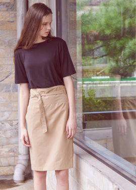 [THEROOM]HIGHWAIST BANDING SKIRT[BEIGE]