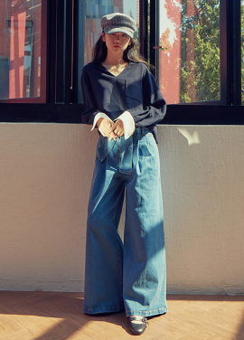 [LAFETE] Denim Wide Pants