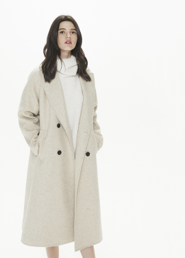 [THESUIN /FW 기간한정 20%세일]HANDMADE ALPACA DOUBLE-BREASTED COAT. IVORY