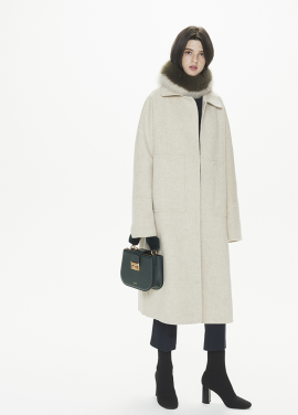 [THESUIN /FW 기간한정 20%세일]Handmade Alpaca Open Front Long Coat. Ivory