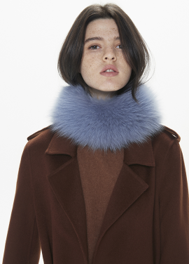 [THESUIN /FW 기간한정 20%세일]High Quality Genuine Fox Fur Scarf. Blue Jean