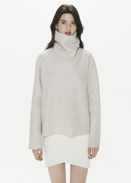 [THESUIN /FW 기간한정 20%세일]HIGH NECK WOOL MOHAIR TOP. LIGHT PINK