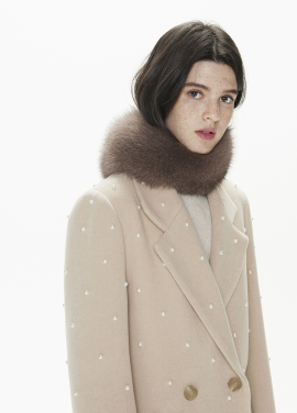 [THESUIN /FW 기간한정 20%세일]HIGH QUALITY GENUINE FOX FUR SCARF. BEIGE