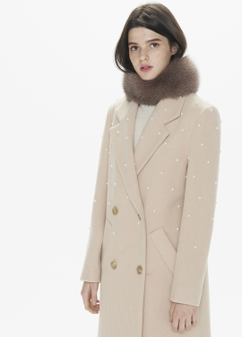 [THESUIN /FW 기간한정 20%세일]PEARL EMBELLISHED DOUBLE LONG COAT. PINK BEIGE