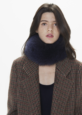 [THESUIN /FW 기간한정 20%세일]HIGH QUALITY GENUINE FOX FUR SCARF. DEEP NAVY