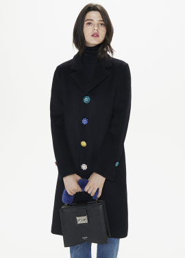 [THESUIN /FW 기간한정 20%세일]CRYSTAL JEWEL BUTTON SINGLE COAT. DEEP NAVY