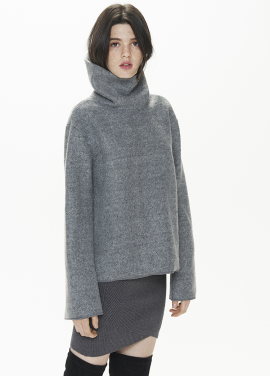 [THESUIN /FW 기간한정 20%세일]HIGH NECK WOOL MOHAIR TOP. GREY