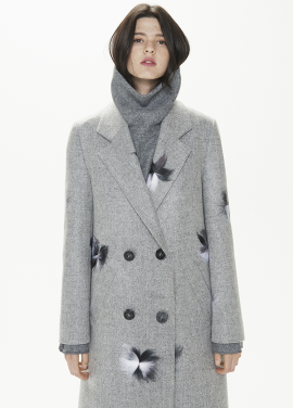 [THESUIN /FW 기간한정 20%세일]FLOWER HAND-FELTED DOUBLE LONG COAT. LIGHT GREY