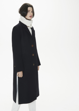 [THESUIN /FW 기간한정 20%세일]Side Slit Oversized Single Coat. Deep Navy / Gold Button