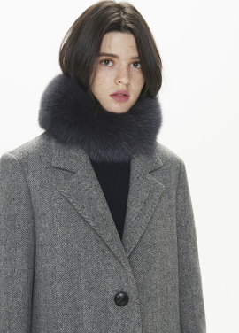 [THESUIN /FW 기간한정 20%세일]High Quality Genuine Fox Fur Scarf. Charcoal