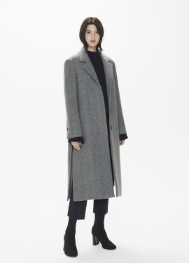 [THESUIN /FW 기간한정 20%세일]Side Slit Oversized Single Coat. Herringbone Grey