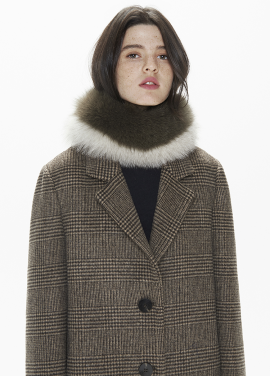 [THESUIN /FW 기간한정 20%세일]High Quality Genuine Fox Fur Scarf. Two-Tone Iv Kk