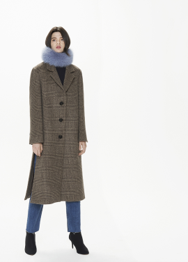 [THESUIN /FW 기간한정 20%세일]Side Slit Oversized Single Coat. Beige Brown Glen
