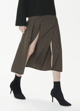 [THESUIN /FW 기간한정 20%세일]Side Slit Midi Skirt. Brown Check