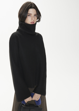 [THESUIN /FW 기간한정 20%세일]High Neck Wool Mohair Top. Black