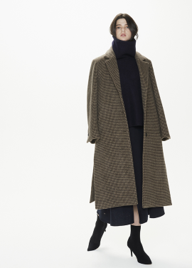 [THESUIN /FW 기간한정 20%세일]Side Slit Oversized Single Coat. Beige Brown Houndtooth