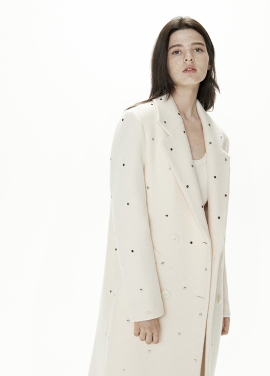 [THESUIN /FW 기간한정 20%세일]Stud Double Long Coat. Ivory