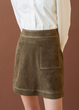 [MILLOGLEM/17FW신상/10%+5%COUPON] embroidered suede skirt - khaki