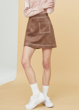 [MILLOGLEM/17FW신상/10%+5%COUPON] embroidered suede skirt - brown