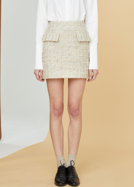 [MILLOGLEM/17FW신상/10%+5%COUPON] comma tweed skirt - cream