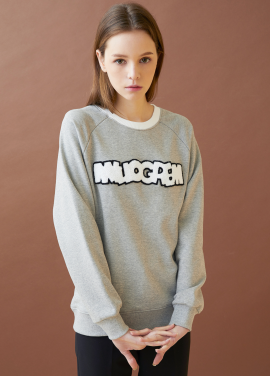 [MILLOGLEM/17FW신상/10%+5%COUPON] logo patch sweatshirts - gray