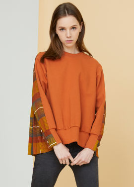 [MILLOGLEM/17FW신상/10%+5%COUPON] pleated sweatshirts - orange