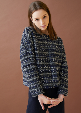 [MILLOGLEM/17FW신상/10%+5%COUPON] comma tweed pullover - navy