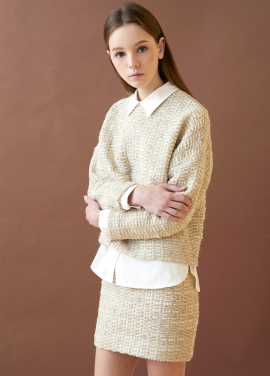 [MILLOGLEM/17FW신상/10%+5%COUPON] comma tweed pullover - cream