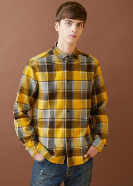 [MILLOGLEM/17FW신상/10%+5%COUPON] fringe heavy check shirts - yellow