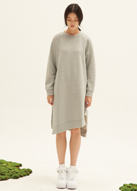 E-BAND POINT OBLIQUE LINE SWEATDRESS(MG)