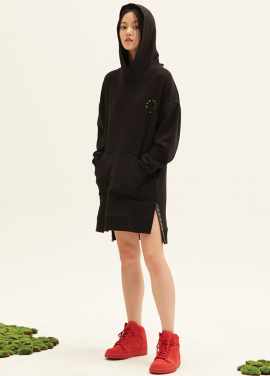 SNAP DECORATION HOOD DRESS(BK)
