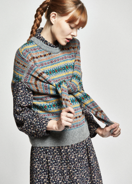 [URAGO/OCTOVER신상/5%+5%COUPON]cross jacquard knit