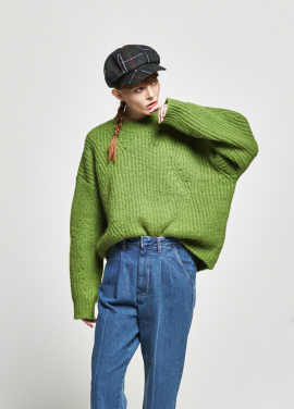 [URAGO/OCTOVER신상/5%+5%COUPON]boxy ribbed round knit