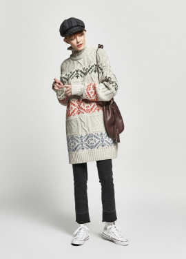 [URAGO/OCTOVER신상/5%+5%COUPON]jacquard over turtleneck knit