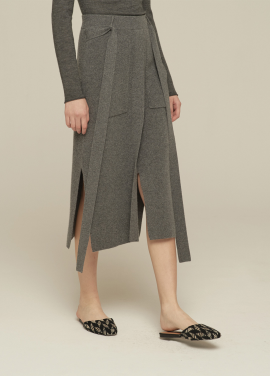 [GRE1SCALE/NEW/GLITTER양말증정+5%쿠폰]100% PURE CASHMERE SLIT SKIRT_CHARCOAL