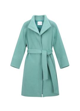 Wool Blend Mint High-Neck Coat