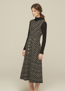 [GRE1SCALE/NEW/GLITTER양말증정+5%쿠폰]JACQUARD SLEEVELESS DRESS_BLACK