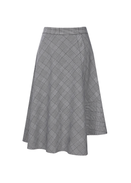 Unbalance Check Flare Skirt