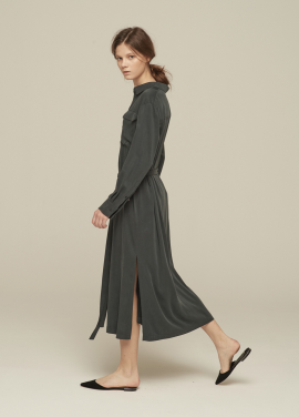 [GRE1SCALE/NEW/GLITTER양말증정+5%쿠폰]TENCEL SHIRT DRESS_MIDNIGHT GREEN