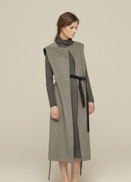 [GRE1SCALE/NEW/GLITTER양말증정+5%쿠폰] HAND-MADE WOOL-BLEND SLEEVELESS COAT_HTHR.GRAY