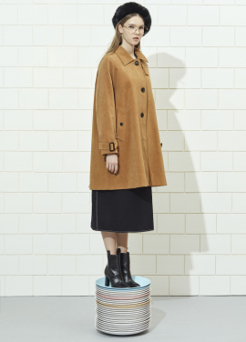 Corduroy Single Button A-Line Coat